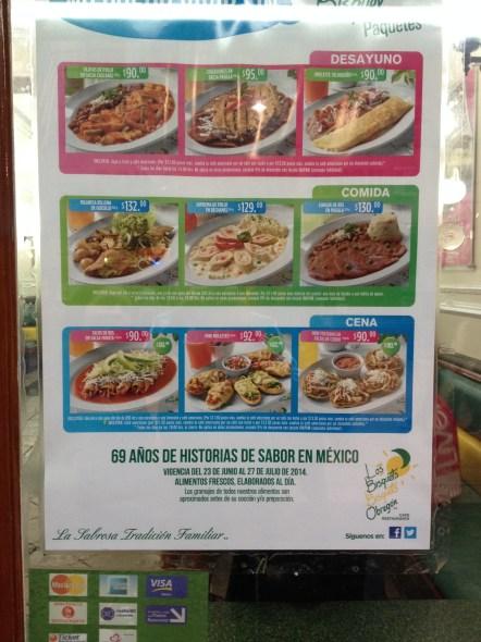 Precios en el restaurant Los Bisquets Bisquets Obregón. Ciudad de México.