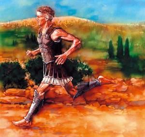 """Fidípides, segundo conta a lenda, foi enviado por Milcíades a Atenas, para anunciar a vitória grega. Após percorrer os 42 km que separavam as cidades, ele teria dito """"Alegrai-vos, atenienses, nós vencemos!"""" para em seguida cair morto pelo extremo esforço"""