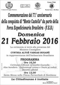 Comemoração dos 71 anos da tomada de Monte Castello