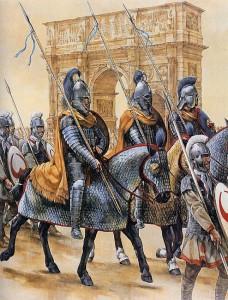 Parada militar romana, detalhe para as unidades de Cavalaria Pesada, muito comuns tanto no Oceste quanto no leste de Roma (Fonte: Late Roman Legions & military: https://goo.gl/1CDHaj / Autor: Christa Hook)
