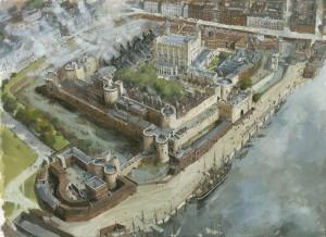 Imagem do Grande Incêndio da Torre de Londres, de 1841 (Fonte: royalarmories.org / Autor: Ivan Latter)