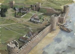 Gravura mostrando as fortificações romanas dos anos 400 d.C., logo antes do abandono da região pelos romanos e da invasão dos anglos e saxões (Fonte: royalarmories.org / Autor: Ivan Lapper)