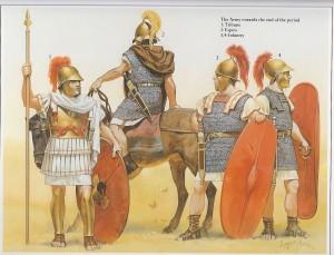 Soldados romanos do período final da República. Pode-se ver que agora não havia distinção entre os legionários que tinham melhores ou piores equipamentos. (Fonte: Table of Contents - http://goo.gl/DdQqow / Autor: Angus McBride)