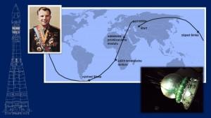 Trajetória da primeira missão tripulada e a capsula da Vostok.