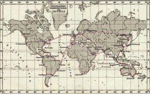 Principais linhas de telégrafo em 1891