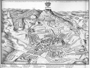 Gravura medieval, de 1650, mostrando o castelo Hohenzollern com a cidade de Hechingen logo abaixo (Fonte: Wikicommons - Autor: Matthäus Merian, ilustrador da época)