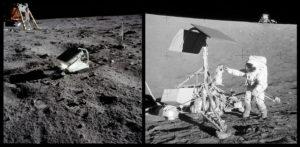 Esquerda: Espelho refletor de Laser deixado na Lua. Direita: Astronauta Alan Bean examinando a Sonda Surveyor 3 com o módulo lunar Intrepid ao fundo.