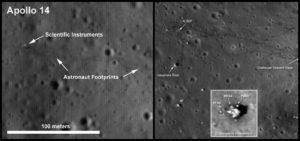 Detalhes obtidos por sondas espaciais do local de pouso de uma missão Apollo