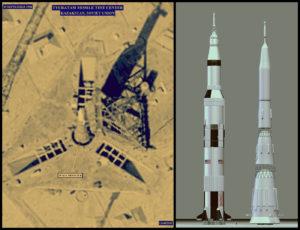Esquerda: foto aérea de um Nositol N1 na plataforma de lançamento antes de explodir. Direita: Comparação entre o Saturno V e o N1, ambos tinha em torno de 111 metros.