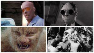 Acima O Homem Invisível: a esquerda o filme de 2000 e a direita o filme de 1933. Abaixo: A Ilha do Dr. Moreau: esquerda filme de 1996 e a direita o filme de 1977.