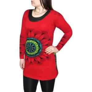 elegáns rövid ruhák Tunika Mandala Jellegű piros Színben