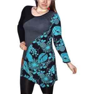 Elegáns rövid ruhák Fekete-szürke színes tunika