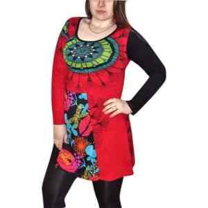 elegáns rövid ruhák Tunika piros tunika mandala mintával