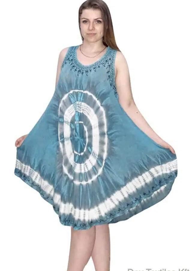 Rövid nyári Indiai ruha keleti mintával kék
