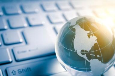 global technology - Blue glass Globe (america map) and Computer Keyboard