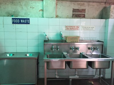 Washing stations for diners.