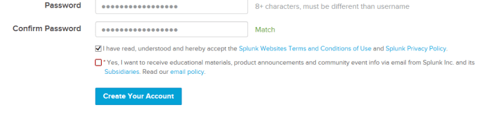The Splunk signup screen, showing a non-optional checkbox