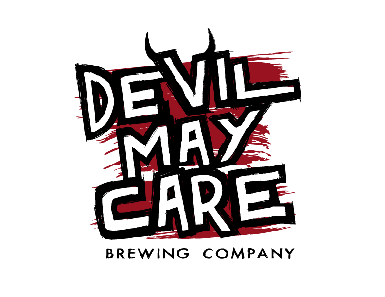 Devil May Care Brewing Company logo with stacked words on top of a red paint-smeared background