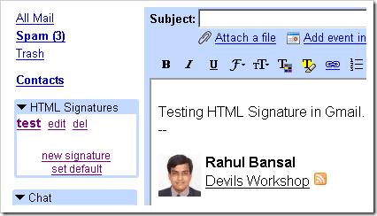 HTML Signature in Gmail