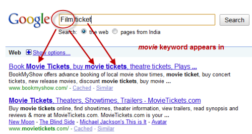 Google search gets better with highlighting of synonyms