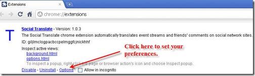 Social Translate Options