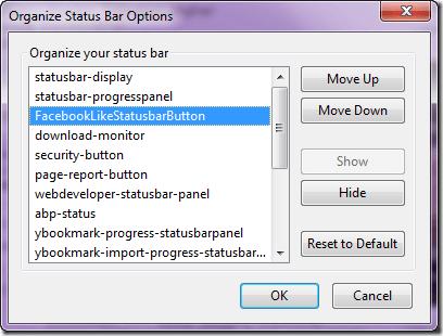 orgainze status bar-option