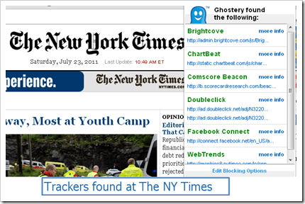 Trackers found at New York times