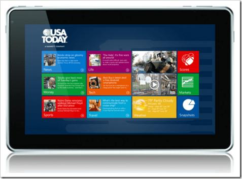 A Tablet running Windows 8