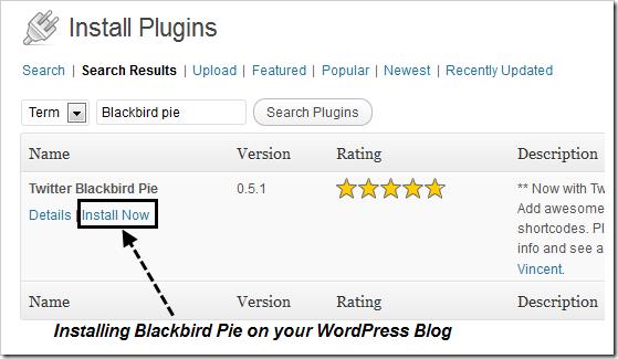 Install Plugin on WordPress -Blackbird Pie