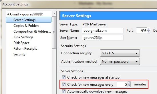 Reduce frequency of message checking in thunderbird