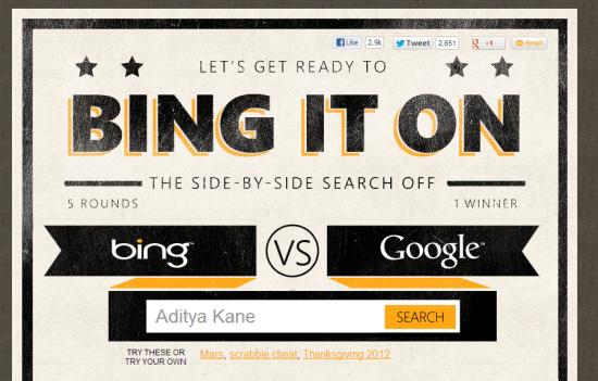 BingItOn: Compare Bing vs Google