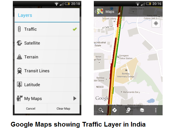 Google Maps Traffic for Indian Cities