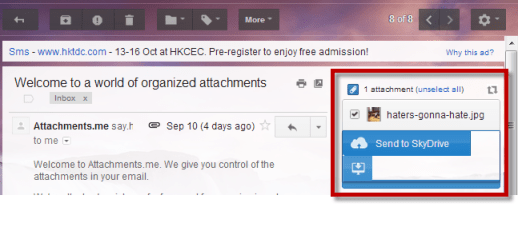 Save Gmail Attachments to SkyDrive