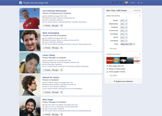 facebook graph search screenshots