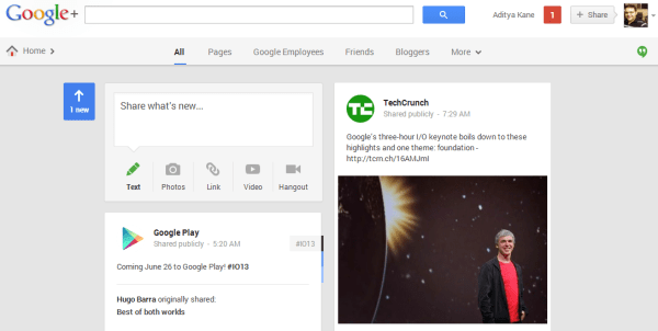 Google Plus News Stream