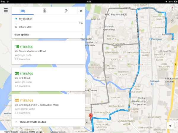 Search Routes on Google Maps - iPad
