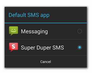 Android KitKat SMS Default