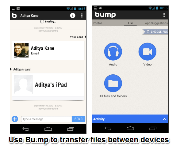 Transfer files between devices with bump app