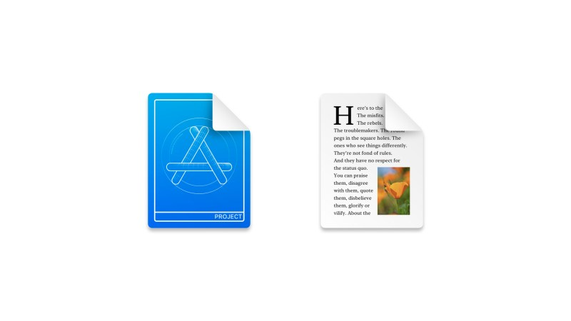 The Xcode Project icon and the Rich Text Format icons use nothing but the background fill element to create a custom look and feel.