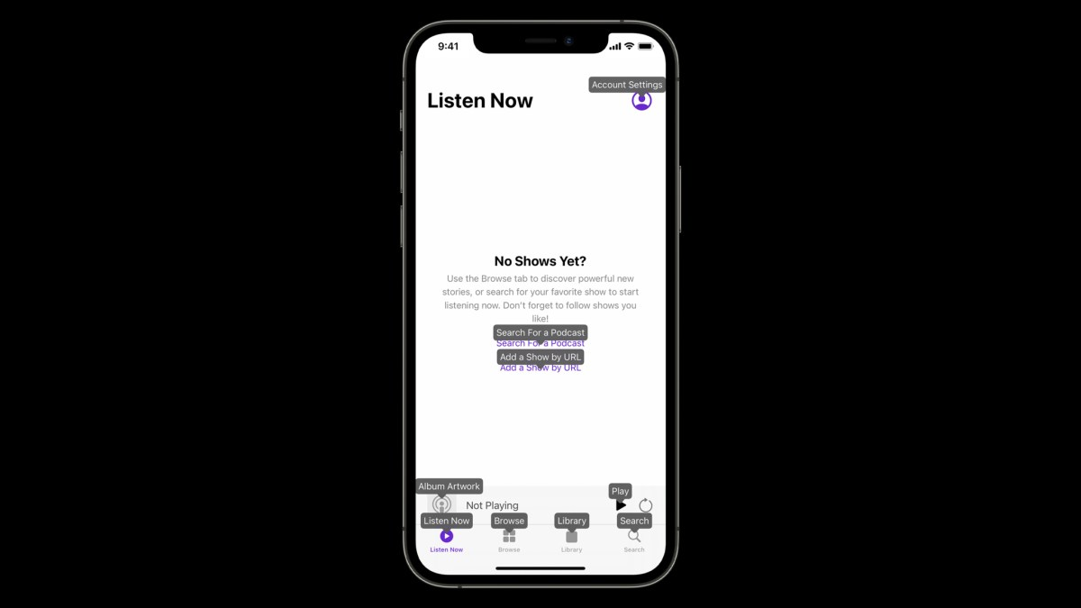"""Voice Control in Podcasts on iOS: """"Show names."""""""