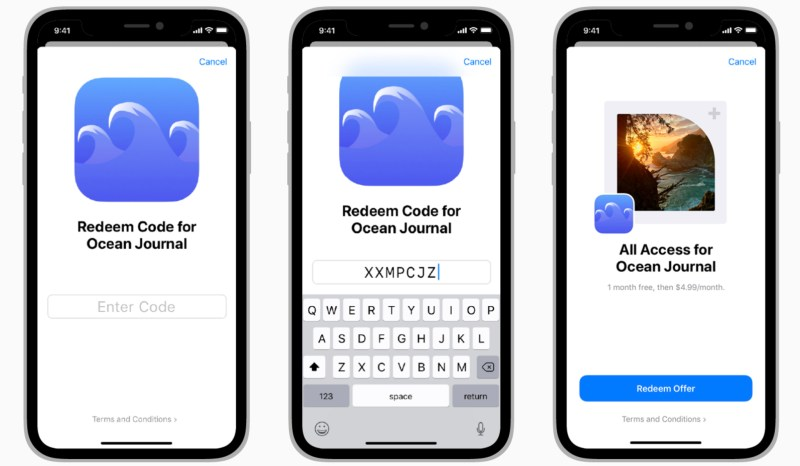 After tapping a custom redeem button within your app, the system automatically provides a series of code-redemption screens like the ones shown. If using one-time code redemption URLs, customers won't need to enter the code as part of the redemption process.
