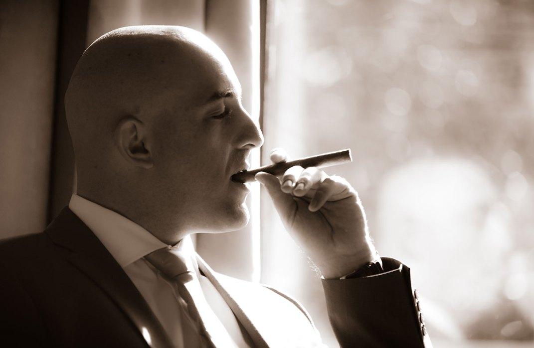 Kyle & Erin Wedding - Cigar Time