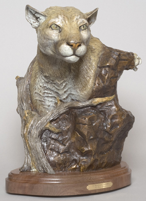 The bronze 'A Mountain Shadow' depicts a mountain lion. (Front view)