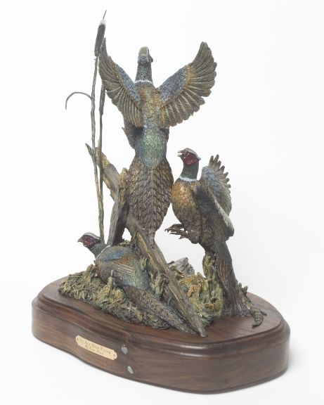 The bronze 'Ace High Flush' depicts three pheasants.