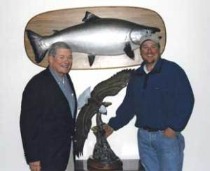 Devin with Missouri Senator Kit Bond during the Annual Breast Cancer Awareness Auction in Alaska.