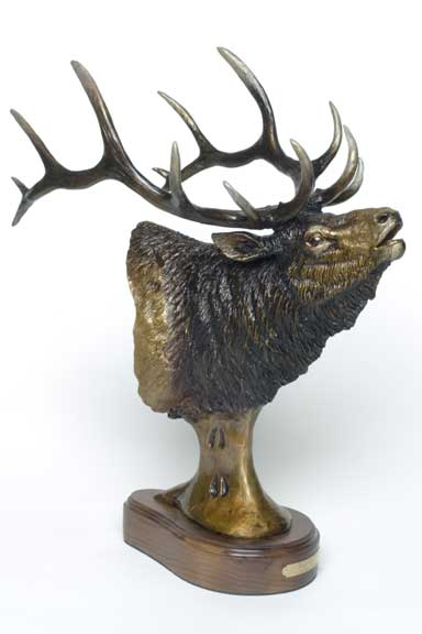 The bronze bust 'Royalty' of an elk by Devin Rowe.