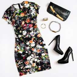 Dress- Alexander McQueen $560 Pumps- Saint Laurent $775 Clutch- Choo $1,550 Jewelry- Banana Republic $75