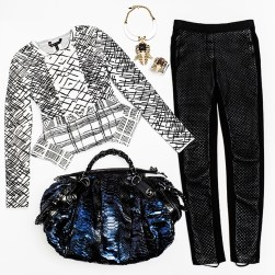 Sweater- BCBG $298 Quilted Faux Leather Pants- BCBG $178