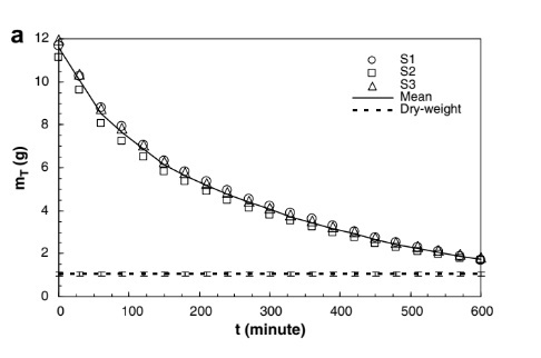 The variation of the sample mass with drying timeThe variation of the sample mass with drying time