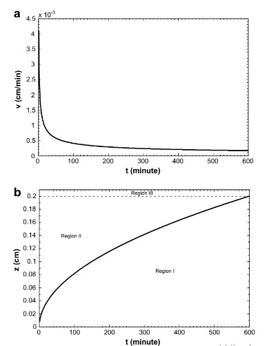 (a) Variation of the interface velocity with drying time, and (b) variation of interface location with drying time.